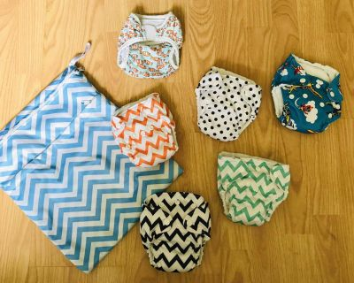 Newborn Cloth Diapers and Wet/Dry Bag