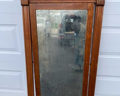 Antique Tall Solid Wood Mirror. Wood Is In Excellent Condition. Mirror Has That Antique Patina.