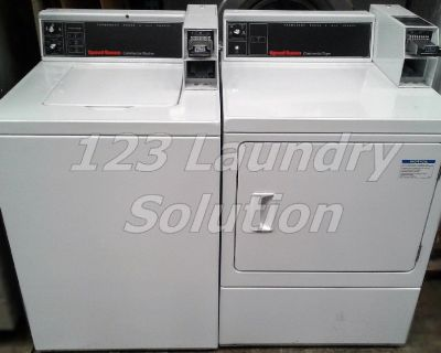 Speed Queen Commercial Coin Op Washer and Dryer Set White Used