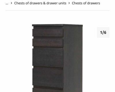 IKEA malm 6 drawer dresser black brown