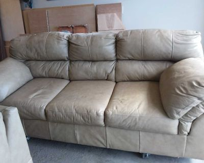 3 Pcs Ashley Leather Couch, Rocking Chair and Chair / All have Legs included.