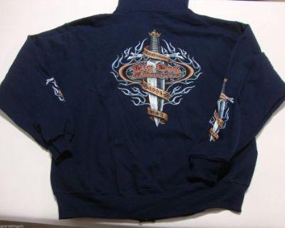 Big Dog Motorcycles Blue Dagger Zip Sweatshirt W/ Sleeve-front-back Design