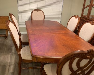 Cherrywood dining room table and hutch