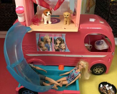 Barbie Camper with Pool and Fire Pit