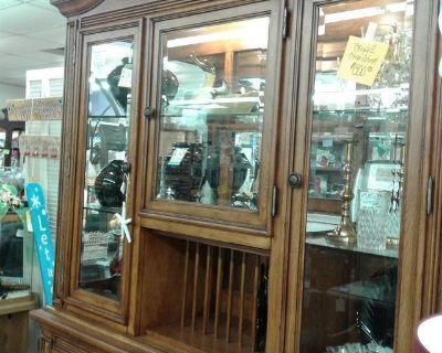 Wood/Wicker Glass & Mirror Lighted Cabinet 2286-340