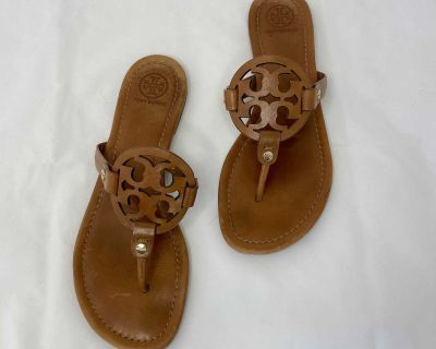 Tory Burch Miller Tan Leather Thong Sandals