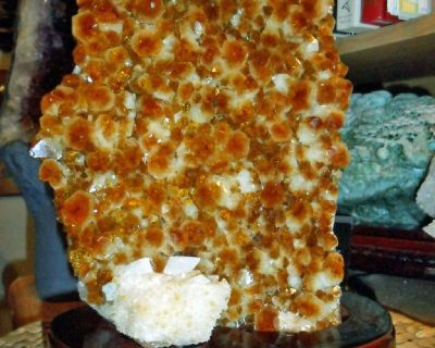 Beautiful Huge Ultra Rare Unique Citrine and Calcite Cluster on Wood Stand