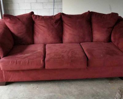 Plush Red Sofa