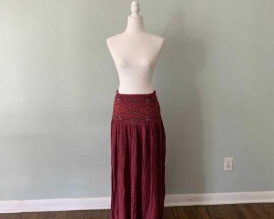 Boho embroidered maxi skirt