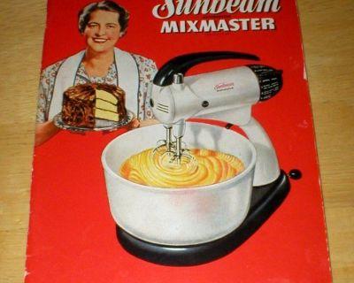 Vintage 1950 Sunbeam Mixmaster Manual Recipe Cook Book Booklet