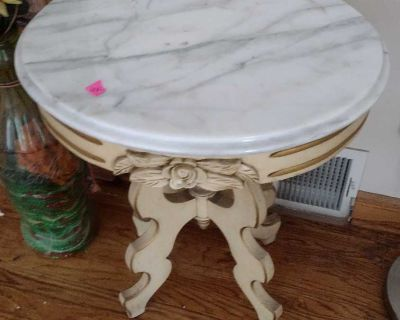 Marble wood end table