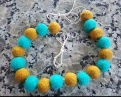 Handmade Ball Garland, colourful, deep gold & turquoise colours, pom pom garland - Adjustable Spacing to your Preference!