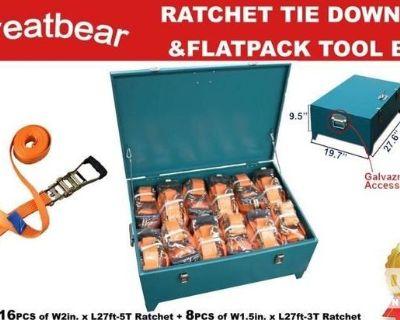 Lot of GreatBear Ratchet Tie Downs & Storage Box - Unused