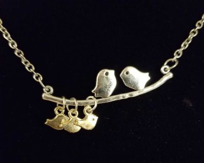 NEW Necklace-Bird Family on a Branch