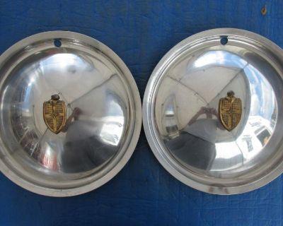 "Pair 1949 Lincoln 15"" Hubcap Gold Emblem Ln 49 50 Wc Cb6"