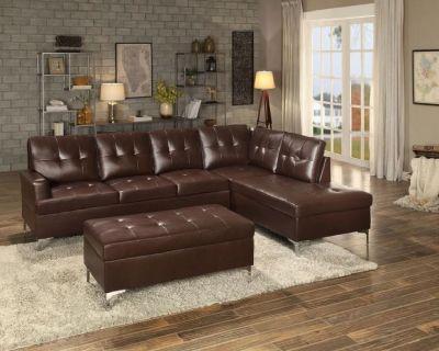(*NEW) Brown Jessica Sectional Sofa w/ Ottoman $799.99