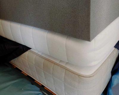 Mattress (single) with spring foundation, foam mattress, 4 inch foam (bamboo)