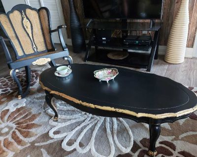 Set of solid wood french provincial vintage rocking chair and coffee table