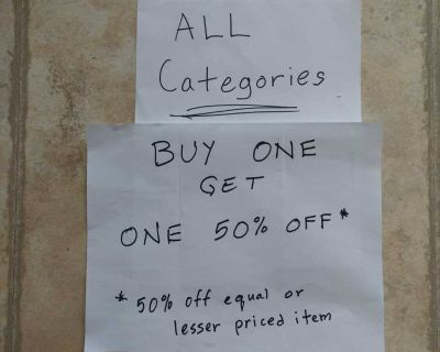Buy One Get One 50% off *