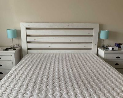 SOLID WOOD, white, distressed king size bed frame with nightstands
