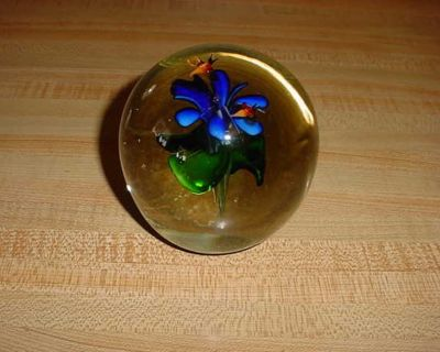 Vintage Art Glass Wildflower & Butterflies Large Paperweight. This Beautiful Paperweight Showing 2 Colorful Butterflies Hovering Over A...