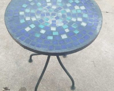 Small patio table blue tile top