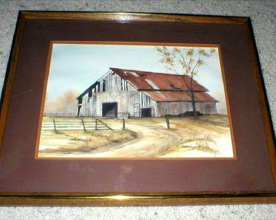 Old Barn Original Watercolor - Signed  Framed