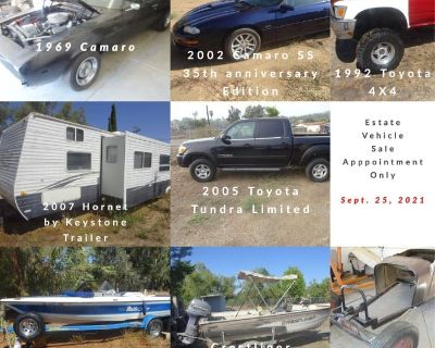 69 Chevrolet Camaro, 2002 Camaro, Plus 2 Toyota Trucks, Travel Trailer, 2 Boats & Roadster Kit