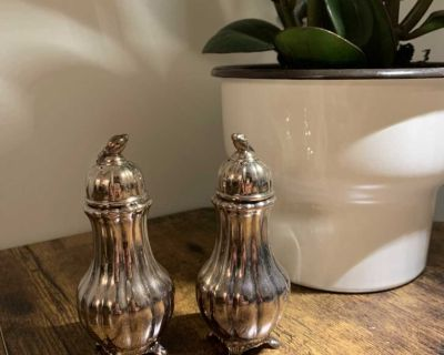 Antique vintage Oxford Salt and Pepper Shakers Lead Ornate SP Silver-Plated