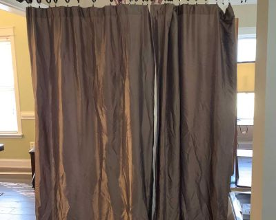 Heavy lined curtains with curtain rod