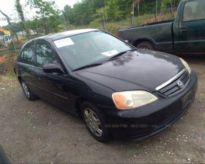 Salvage Black 2002 Honda Civic