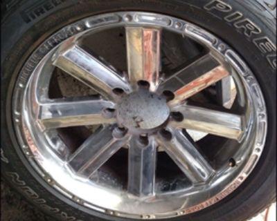 "Chrome 8 lug rims 20"" have 3 rims 4 tires 275-55-20"