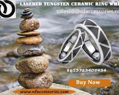 Lasered Tungsten Ceramic Ring White