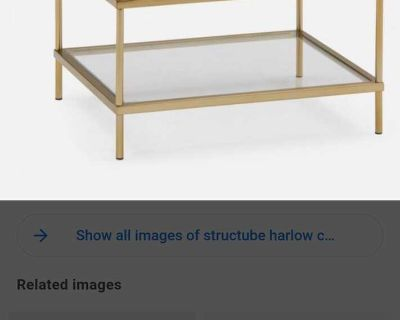 Structube glass/bronze accent table