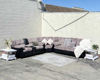 Gray and black rocking and reclining sectional