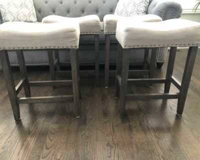 Gray Linen 24 counter height saddle barstools $15 each or all for $50