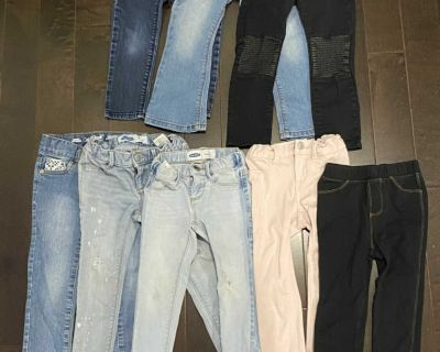 8 pairs of girls jeans -all 3T- all adjustable waist