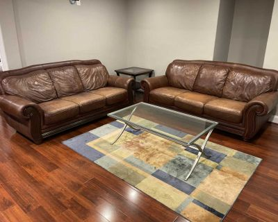 *Delivery Available* Genuine Leather Set of Two Sofas