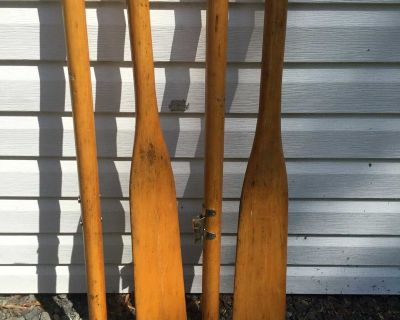 Rowboat paddles, 70 inches long, collapsible.
