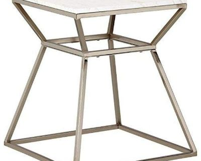 End Side Table or Nightstand - Silver & Marble - Minor Chip - New!