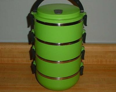 Gently Used Sanon 4-Tier Lime Green Stainless-Steel Leak-Proof Silicone Seal Thermal Bento Lunch Box. This Cute Lunch Box Is Made Of Full...