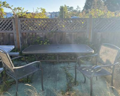 Patio glass table & 2 chairs