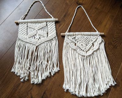 New! Set of 2 Macrame Hanging Wall Decor for pick up in Cooper's Crossing Airdrie