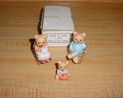 Vintage Home Interior HOMCO Porcelain Rocking Chair Teddy Bear Figurine Set. Mama & Daddy Bear Are Relaxing On Rocking Chairs While Baby...