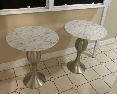 Faux marble and silver side tables