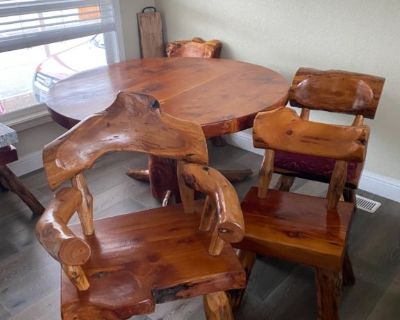 Rustic Solid Wood Dining Table and Chairs