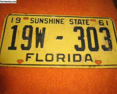 vintage 1961 florida license plate register now!