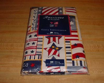 New Americana By Elrene Patriotic Oblong 52 x 90 Flannel Back Vinyl Tablecloth. Very Colorful & Loaded With Red, White & Blue Stars...
