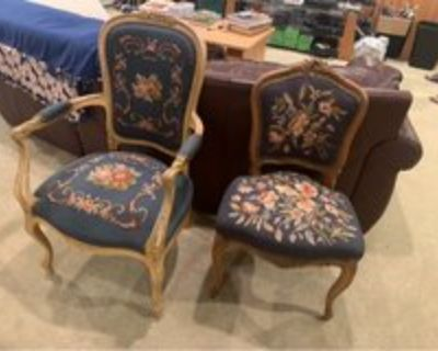 preowned 2 solid oak chairs w/handcrafted seats/backing