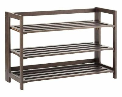 3-Tier Espresso Folding Shoe Rack Container Store LIKE NEW